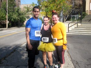 "Me, The Flash & Her Friend getting ready to ""Run for Our Lives"" at the Sleepy Hollow 10K"