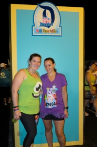 Me as Mike Wazowski & The Flash in her Rapunzel gear ready for the 10K