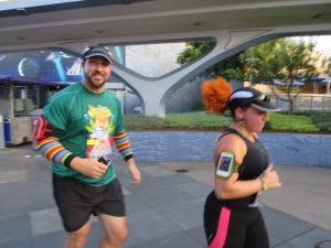 Joey Fatone & his wife during the Disneyland 10K