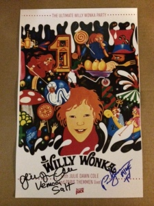 My autographed Action Pack Ultimate Willy Wonka Party Poster