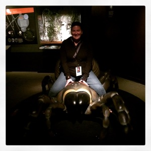 Riding a trapdoor spider at the Spiders Alive! Exhibit